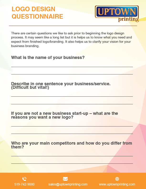 Logo Design Questionnaire for sales@uptownprinting